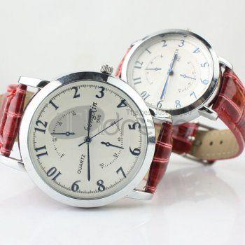 Ponteiro vermelho padrão cinto relógio