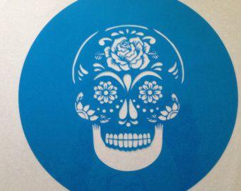 Sugar skull ,Mexican skull Day Of The Dead cake topper stencil  ! -  cake decorating stencils