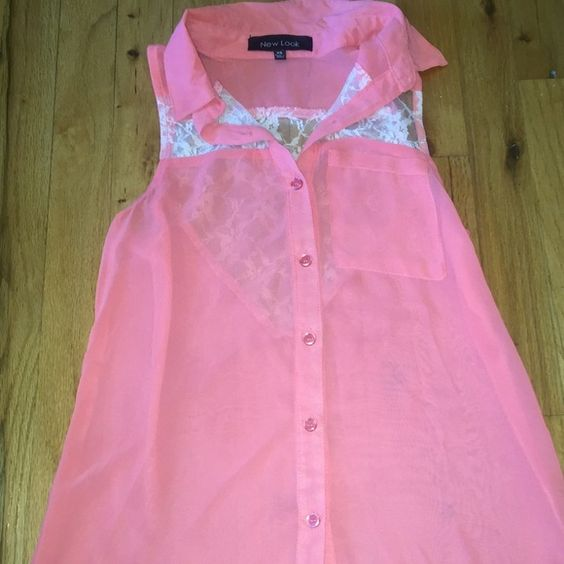 Pink Dress up tank pink button up tank with lace detail New Look Tops Button Down Shirts