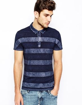 BOSS Orange Polo Shirt with Painted Stripe