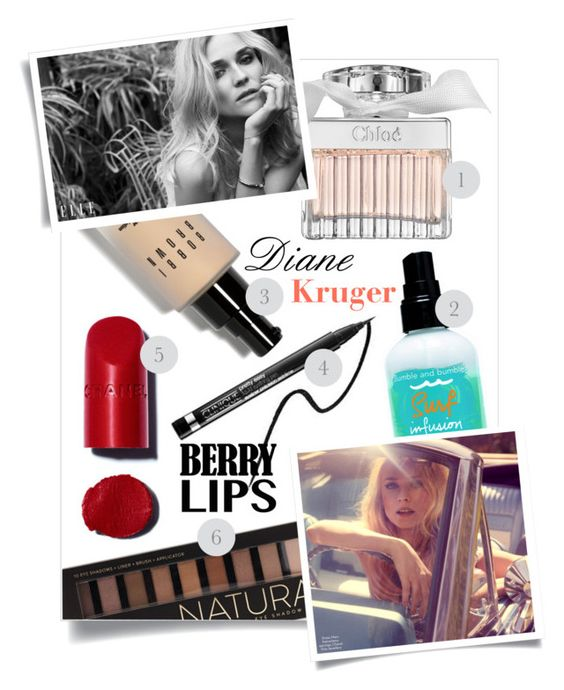 """""""#DianeKruger #CinemaIcons #BerryLips"""" by sara-86 ❤ liked on Polyvore featuring beauty, Chanel, Bobbi Brown Cosmetics, Clinique, Bumble and bumble, Forever 21 and Chloé"""
