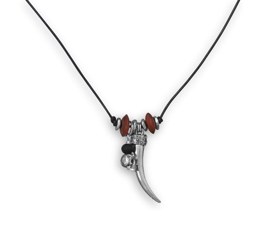 """22"""" Multicharm Leather Men's Fashion Necklace"""