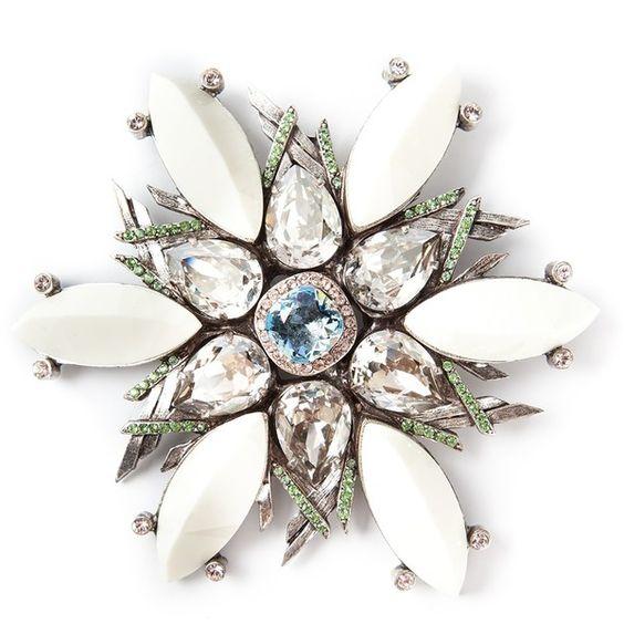 LANVIN crystal embellished floral brooch ($813) found on Polyvore