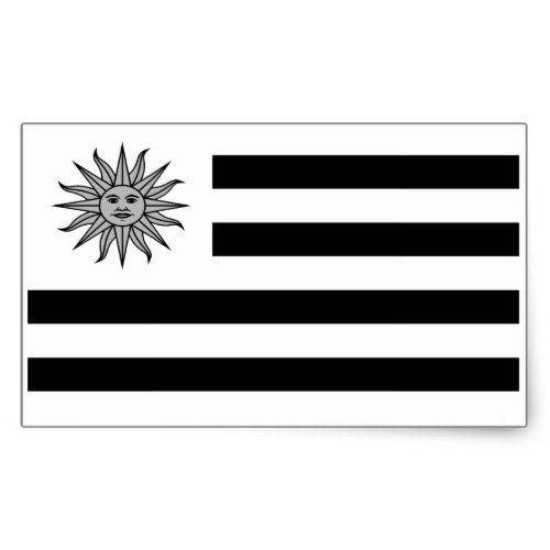 Uruguay Flag In Black And White Rectangular Sticker Zazzle Com Uruguay Flag Sticker Flag Black And White