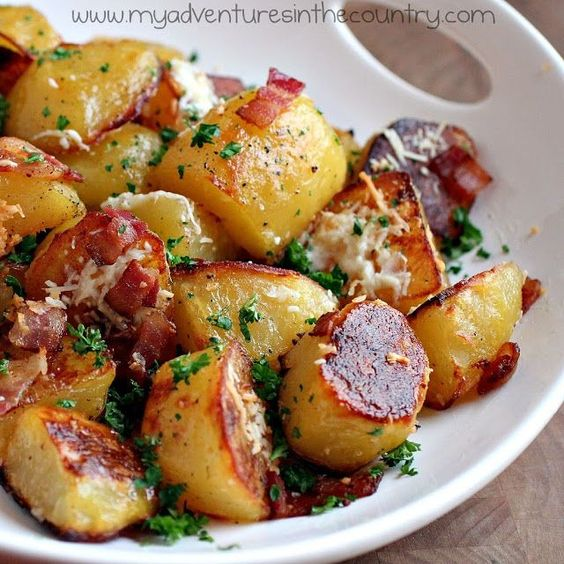 Oven Roasted Bacon Garlic and Parmesan Potatoes