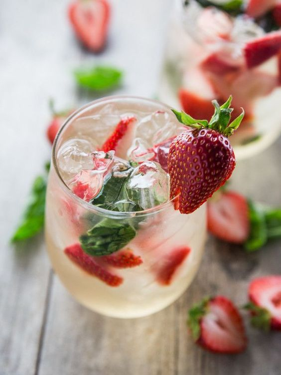 Simple Strawberry Basil Sangria #strawberry #sangria #basil