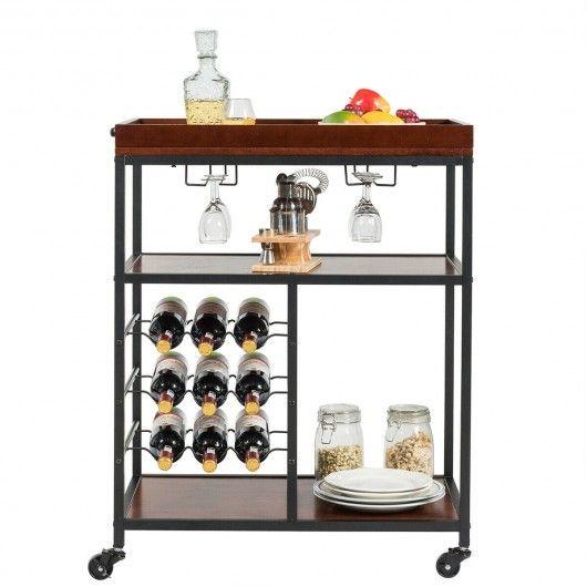3 Tier Storage Bar Serving Cart With Wine Rack Wine Rack Wine Rack Glass Holder Bar Serving Cart