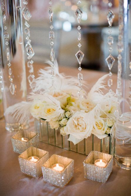 White crystal and feather centerpieces photo scarlett