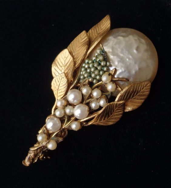 Vintage Brooch by Miriam Haskell Flower W/ Faux Pearls Signed #MiriamHaskell