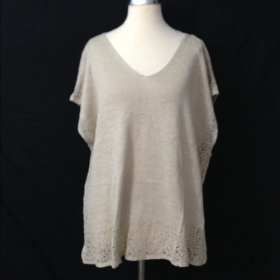 NWT Talbots Linen Blend Eyelet Sweater L / XL Excellent condition. Lightweight. Linen blend. Hand wash. Very soft. Loose, comfortable fit. Retail $60 Measurements when laid flat: Bust: 26 Length from top of shoulder to hem: 26 Length from under arm to hem: 15 Talbots Sweaters