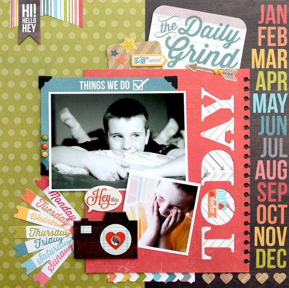 Today Layout Simple Stories Daily Grind - Scrapbook.com