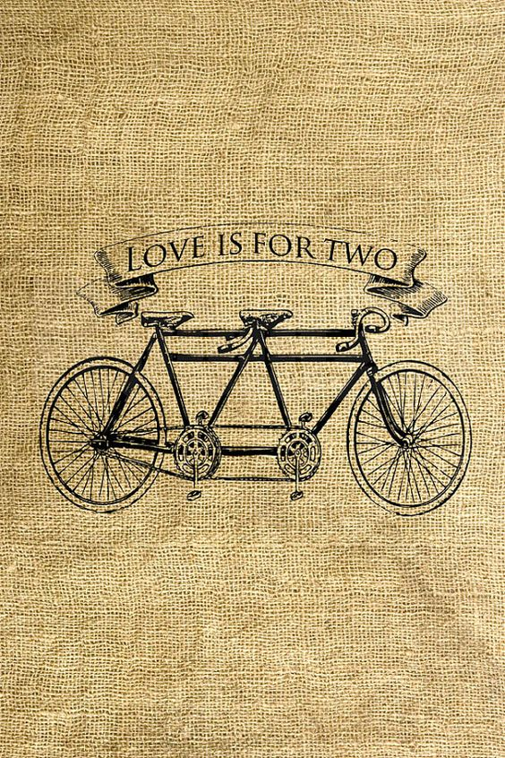 INSTANT DOWNLOAD Vintage Tandem Bicycle Love Banner - Image Iron On Transfer - Digital Collage Sheet by Room29 - Sheet no. 697