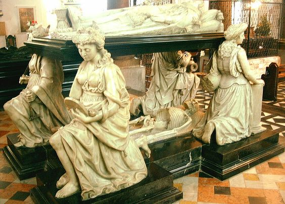 Tomb of Robert Cecil, 1st Earl of Salisbury, son of William Cecil, 1st Baron Burghley. After his education at Cambridge, Salisbury was made Secretary of State in 1590, and he became the leading minister after the death of his father in 1598, serving both Queen Elizabeth I and King James as Secretary of State. For most of his working life, he served as spymaster for King James. Hatfield House, Hertfordshire, England.