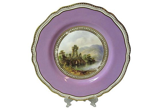 "Copeland Spode Castle Ruins Plate for display on easel -9""Dia,"