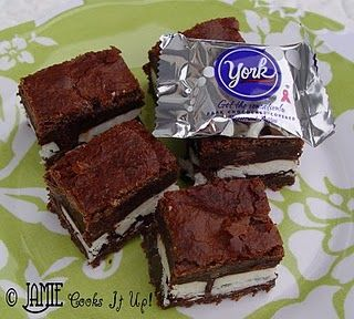 York Peppermint Brownies.  A Great holiday treat! I have a weakness for brownies yum!!