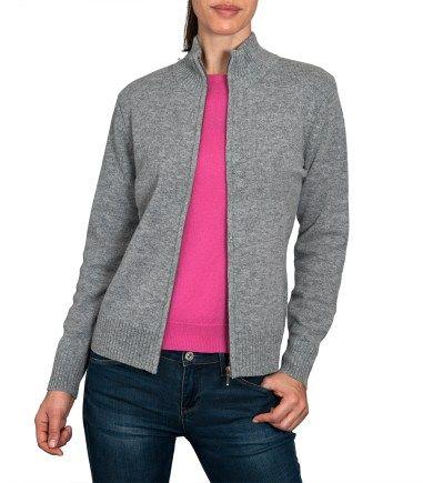 Grey Womens Wool Zip up Cardigan   Ladies Lambswool Zipper Cardigan