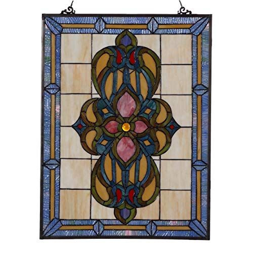 Bieye W10030 25 Inches Victorian Tiffany Style Stained Glass Window Panel With Hanging Chain Home Decor First Stained Glass Window Panel Stained Glass Stained Glass Panels
