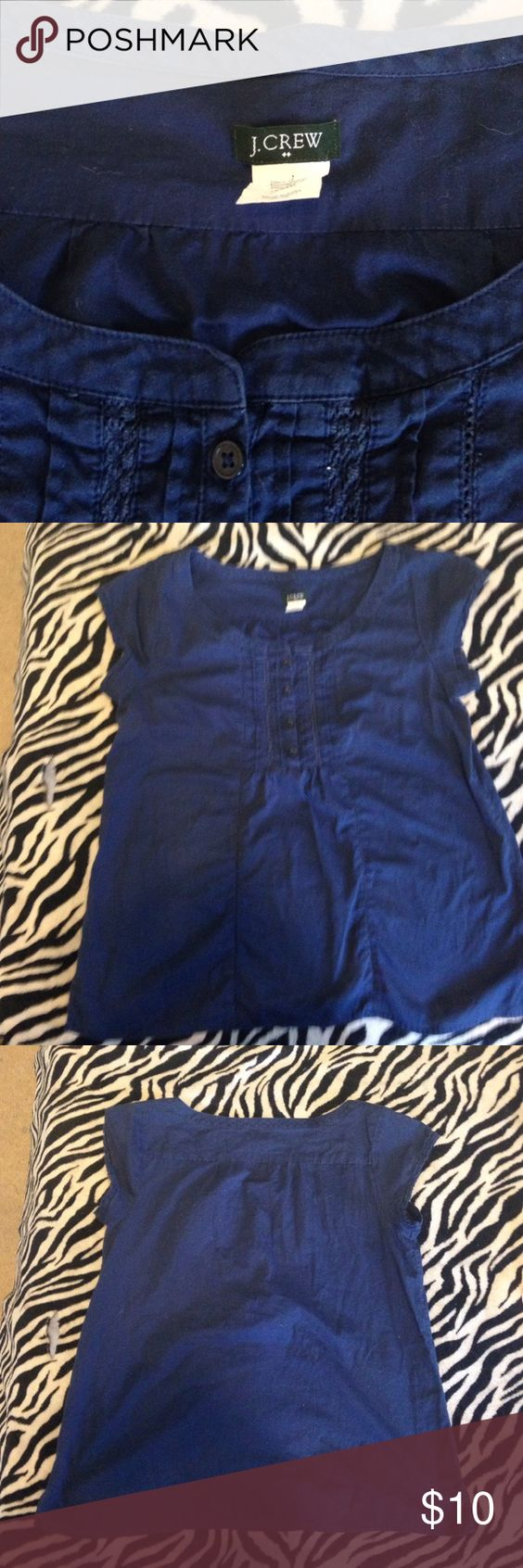 J. Crew navy cap sleeve blouse J crew factory. Size medium. Gently used condition. 100% cotton. J. Crew Factory Tops Blouses