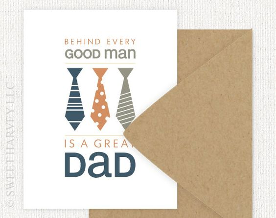 Fathers Day Card Neck Tie Typography Folded by sweetharvey, via Etsy.