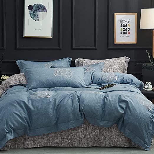 Llwannr Sheets Summer And Autumn Section Blue Bedding Set 100 Cotton Bed Sheet Comforter Duvet Cover Beds In 2020 Blue Bedding Sets Comforter Duvet Cover Blue Bedding