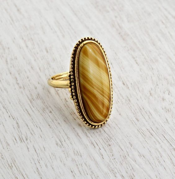 Vintage Yellow Brown Stone Ring - Signed Avon Statement Gold Tone Faux Agate Tigers Eye 1970s Jewelry / Shimmering Sands by Maejean Vintage on Etsy, $22.00