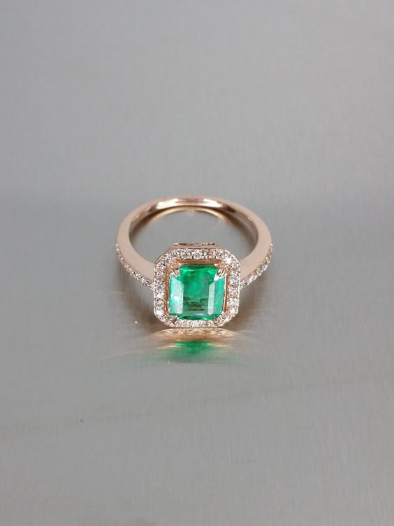14 Karat Rose Gold Emerald with Diamond Ring by KCDDiamonds, $1534.00