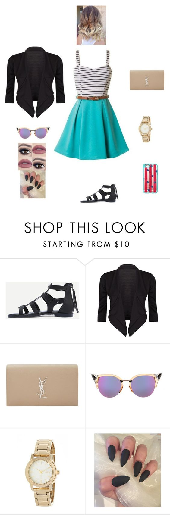 """K B G O A D W D H"" by queen-kaitlyn ❤ liked on Polyvore featuring Yves Saint Laurent, Fendi, DKNY and Casetify"