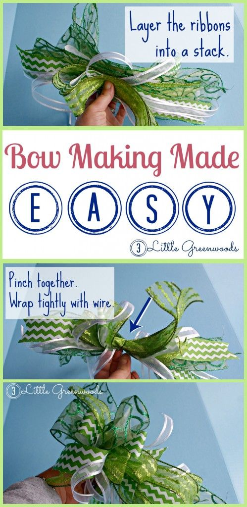 Bow Making Made EASY! Follow this step by step tutorial for creating bows for any holiday http://www.3littlegreenwoods.com