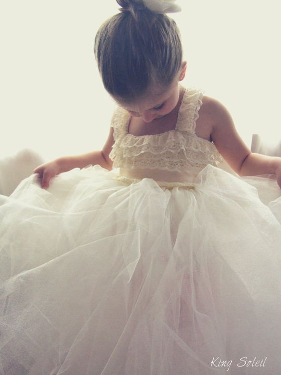 Flower Girl Dress Lace and Tulle Tutu Crochet Bodice by KingSoleil, $220.00