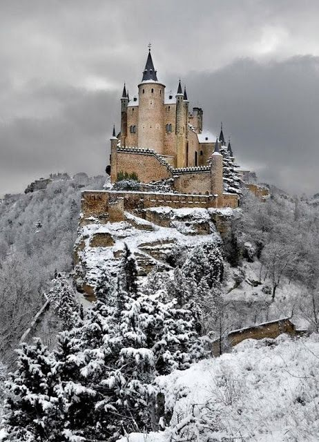 The Alcázar of Segovia, Spain. (It was about 32 degrees when I went here, but no snow.)