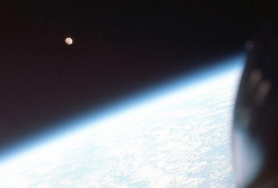 The crew of Gemini VI observe the Moon above Earths limb. (NASA/JSC/ASU) # pics-i-love-geekery