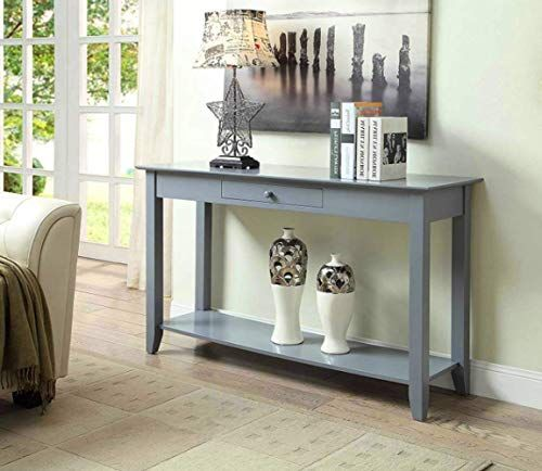 Console Table With Storage Premium Quality Grey Color Wooden 1 Shelf Multi Use Portable Fits Everywhere 1 Draw Home Decor Console Storage Console Table
