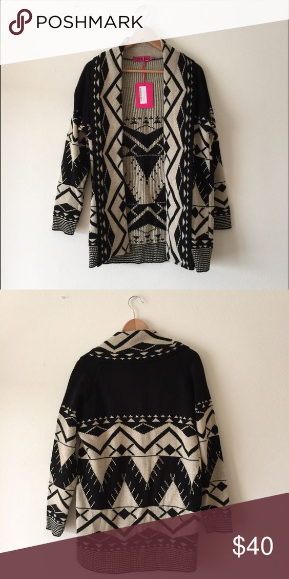 Boohoo Aztec Cardigan Sz M/L Brand new. Never worn w/ tags. Size is Medium/Large. Black and cream color. Boohoo Sweaters Cardigans