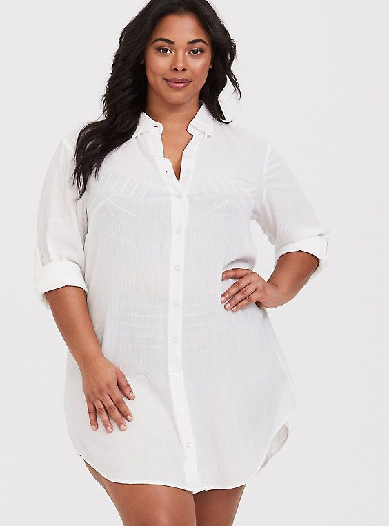Plus Size White Button Shirt Dress Swim Cover-Up, IVORY, alternate ...