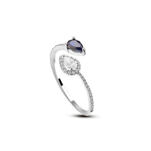 Inel cu safir si diamante D154