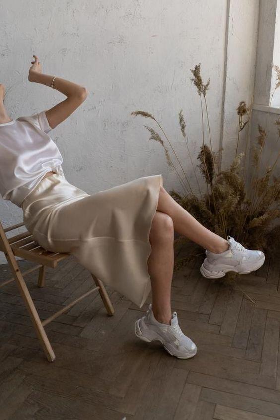 Silk slip skirt midi Cream silk satin skirt Silk slip bias cut | Etsy