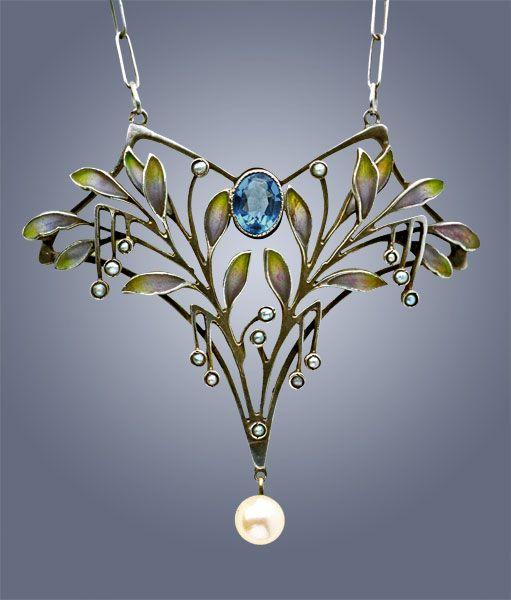 LEVINGER & BISSINGER  Jugendstil Pendant   Silver Plique-à-jour Pearl  H: 5 cm (1.97 in)  W: 4 cm (1.57 in)   Marks: 'HL' monogram '900' & 'Depose'  German, c.1900 /JV