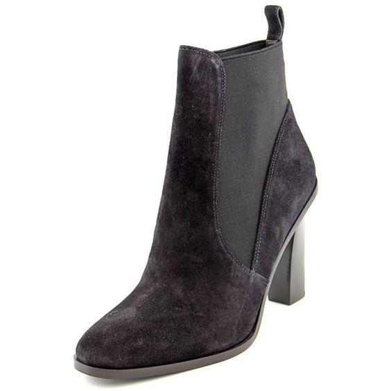 Via Spiga Via Spiga Maila Women Round Toe Suede Ankle Boot (406837601) ($127) ❤ liked on Polyvore featuring shoes, boots, ankle booties, ankle boots, black, suede booties, black high heel booties, black bootie and black ankle boots