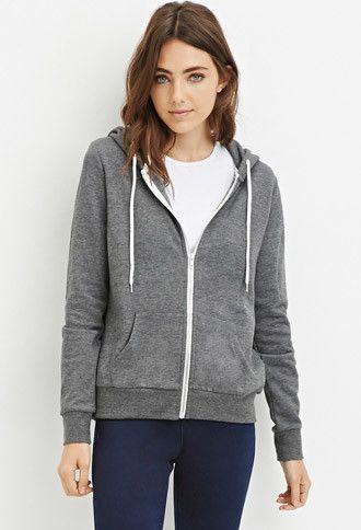 This hoodie in BURGUNDY Zip-Up Drawstring Hoodie | Forever 21 ...