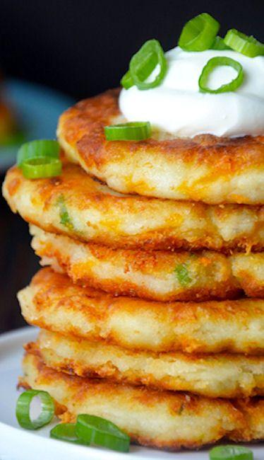 Cheesy Mashed Potato Pancakes Recipe : great for using up leftover holiday mashed potatoes!