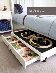 Cómo organizar los juguetes debajo de la cama... Divertido y original forma de tener a mano el lego, el tente o lo que sea...: