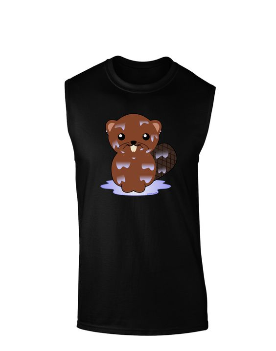 TooLoud Cute Wet Beaver Dark Muscle Shirt