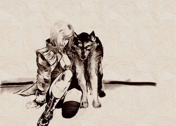 """""""Wolf Companion"""", desenho da Sniper Wolf por minha amada Amanda Rocha Santos na galeria de arte oficial de Metal Gear Art Studio."""