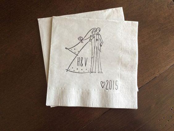 Personnalisée mariage serviettes de table en Couple avec an - Set de 50 ces belles serviettes ajoutera une touche spéciale à votre événement !  Cette