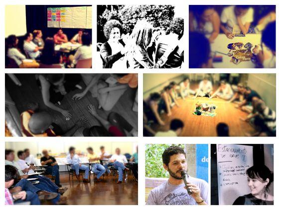 Colagem de fotos de diversos momentos de oficinas conduzidas pelos profissionais da Tistu e parceiros. #Tistu #CarlaStoicov #WilsonBispo #Diálogo #Facilitação #Workshop #Oficina