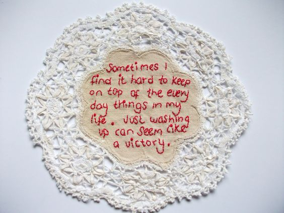 Stitched words are so powerful and beautiful. The work of Emma Parker.