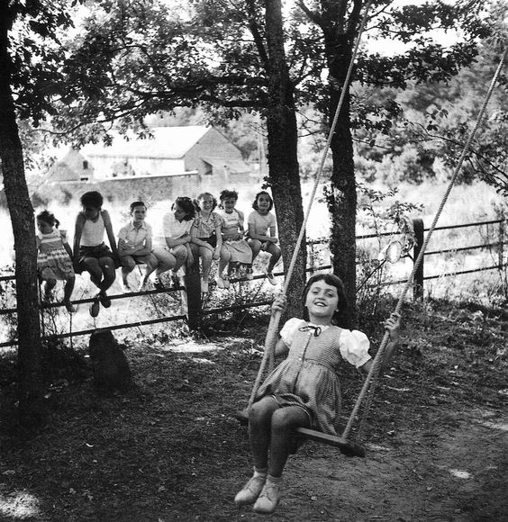 """Summer afternoon, summer afternoon; to me those have always been the two most beautiful words in the English language."" ~ Henry James // Photo: Swing In Raizeux, France,1950, Robert Doisneau:"