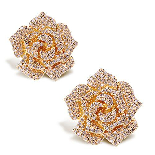 Mebarra 3d Rose Flower Design Cz Cubic Zirconia Pave Luxury Wedding Bridal Earring Speci Flower Earrings Studs Bridal Wedding Earrings Wedding Bridal Jewellery