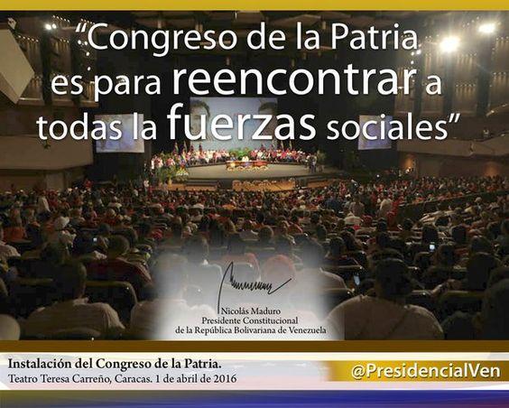 @PresidencialVen : #CongresoDeLaPatria: Vamos al reencuentro de todas las fuerzas sociales https://t.co/rVFzL3aoLE