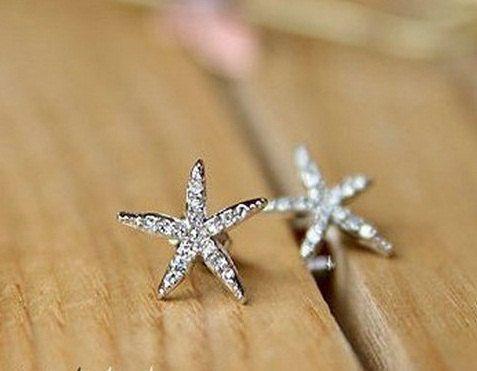 Starfish Tiny Earrings. $10.00, via Etsy.